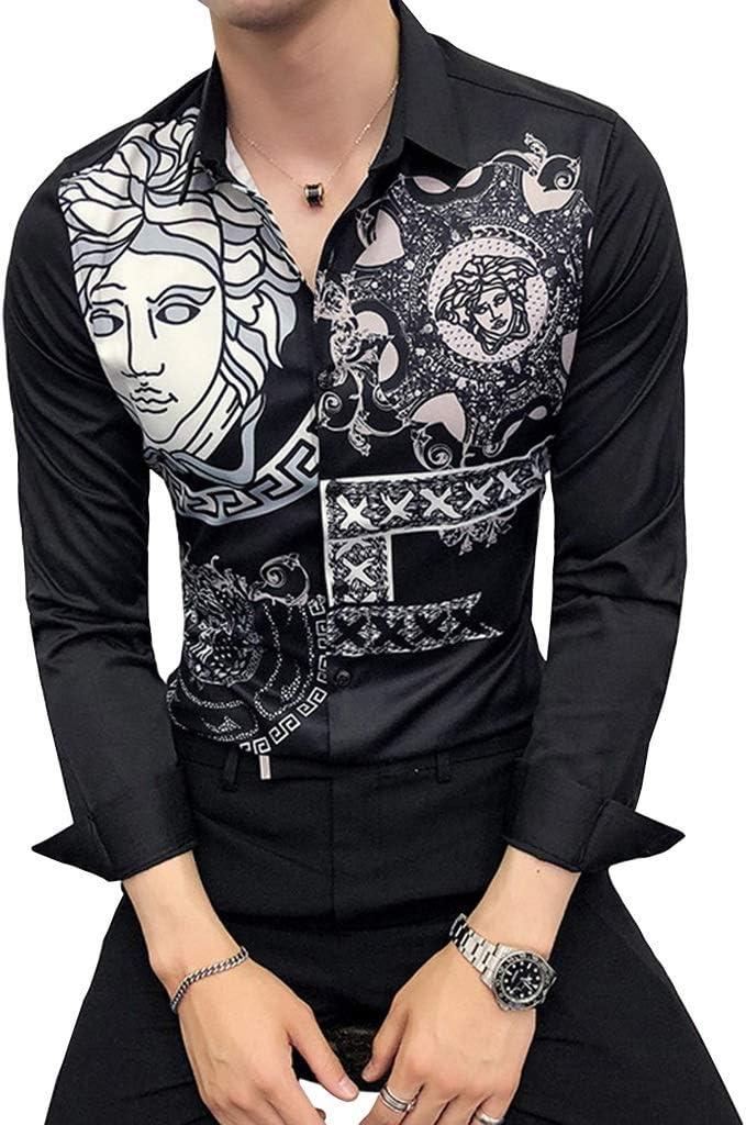 QINJLI Camisa De Hombre Manga Larga Ajuste Formal Vintage Abstracto Avatar Botón De Impresión Solapa Abierta Blanco Y Negro Extravagancia Accesorios De Vestido De Fiesta De Caballero Simple (M-4XL): Amazon.es: Jardín