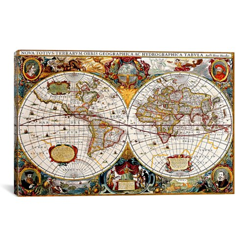 iCanvasART Antique Double Hemisphere Map of The World Hondius Henricus by Unknown Artist Canvas Art Print, 41 by 27-Inch (Hemisphere Map)