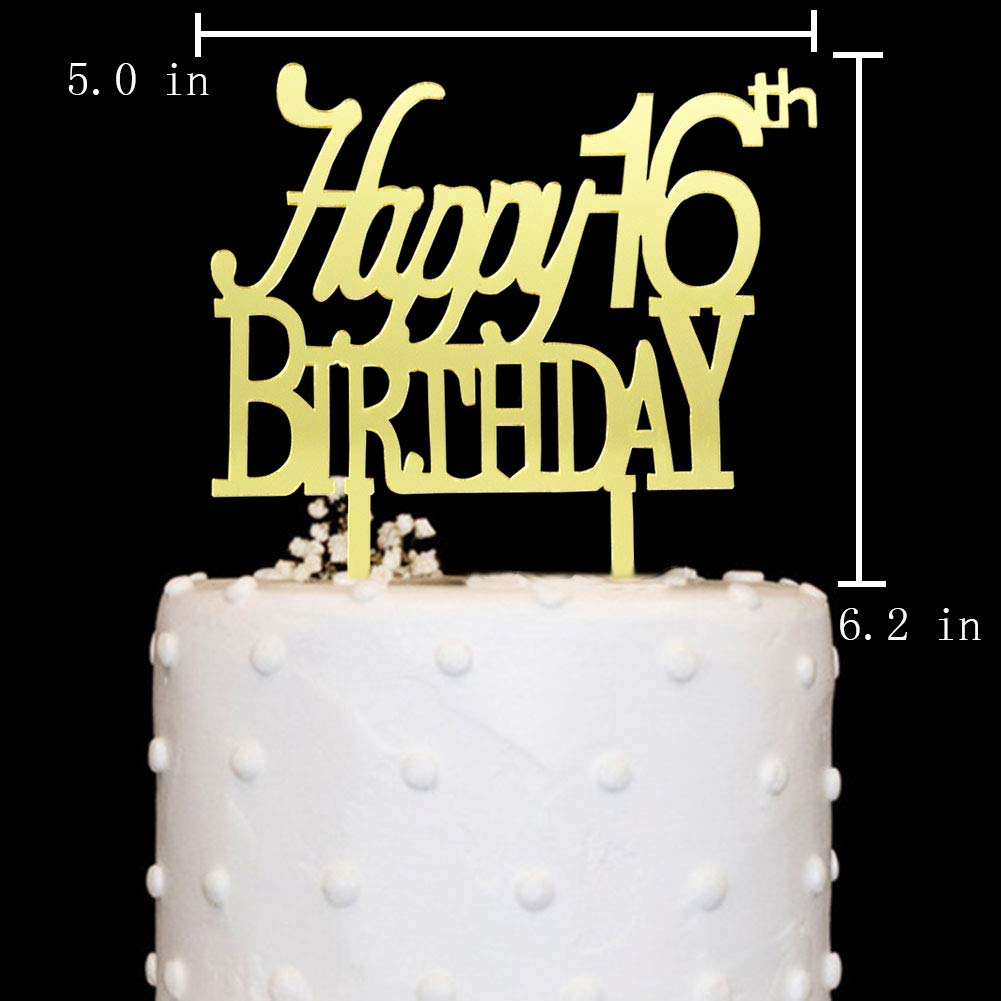 Amazon Happy 16th Birthday Cake Topper Acrylic Gold Mirror For16th Anniversary Party Decorations Supplies Toys Games