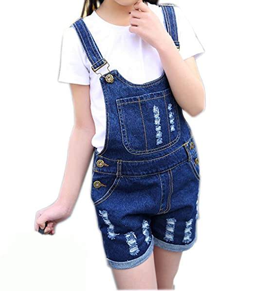 ebeb8c9d78ed Sitmptol Kid Little Big Girls Denim Jumpsuit BF Jeans Romper Overall  Shortalls Dark Blue