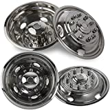 Wheel Simulators for Ford F450 F550 (Pack of 4) 19.5 Inch Snap-On Stainless Steel Hubcaps