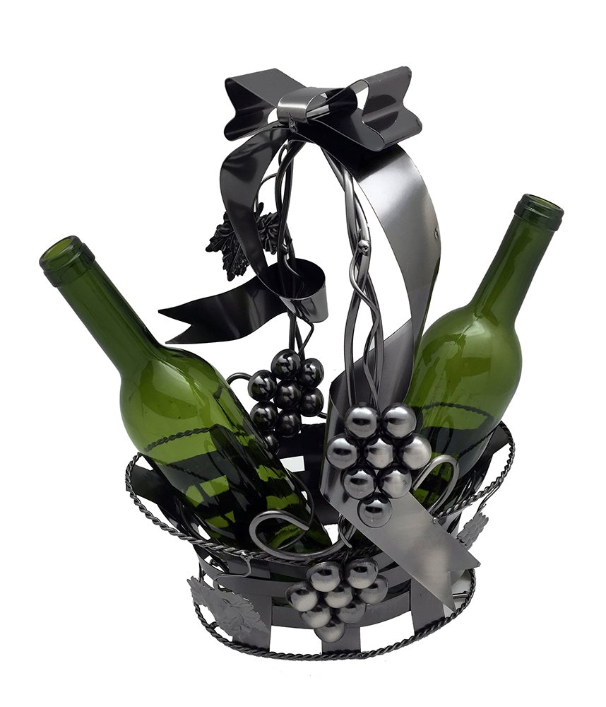 Grape Vine Two Wine Bottle Holder Metal Basket