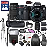 Canon EOS 6D DSLR Camera with Canon EF 24-105mm f/4L IS II USM Lens & Canon EF 75-300mm f/4-5.6 III Lens, TTL Flash, Tripod, Mono-Pod, Battery Grip + Professional Accessory Bundle