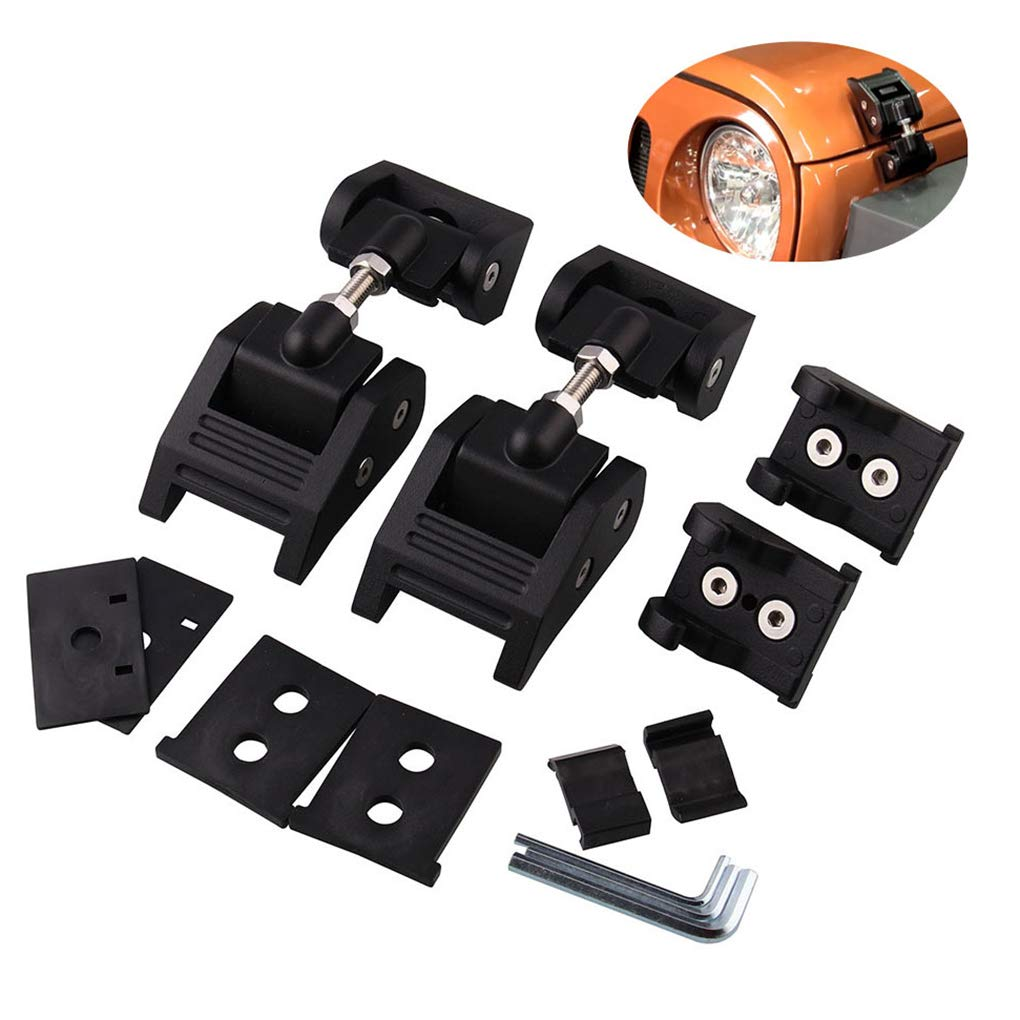 Replacement for Jeep Wrangler JK 2007-2015 Engine Hood Lock Latch Buckle Set 1 Pair Bonnet Latch by You May