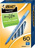 BIC Round Stic Xtra Life Ball Pen, Medium Point (1.0 mm), Blue, 60-Count
