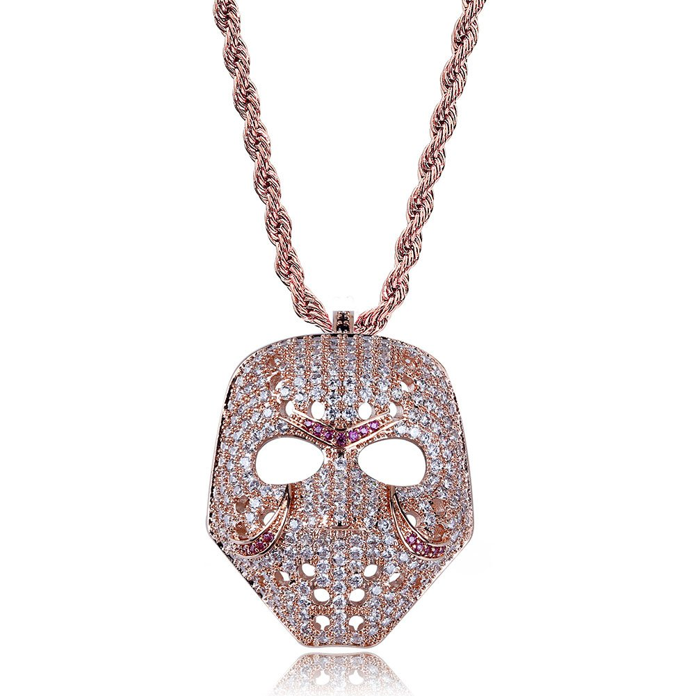 3c9bc49b9 TOPGRILLZ Mens 14K Gold Plated Iced Out CZ Simulated Diamond Mask Pendant  Necklace with Rope Chain Hip Hop Jewelry (Rose Gold)