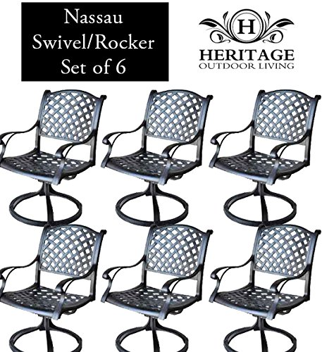 (Heritage Outdoor Living Nassau Cast Aluminum Swivel Rocker - Set of 6 - Antique)