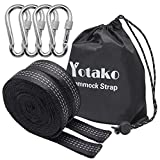 Yotako 2Pcs 20ft Camping Hammock Straps,No Stretch Adjustable Polyester Suspension Straps With 19 Loop + 4 Carabiners,Heavy Duty Tree Hanging Straps Kit