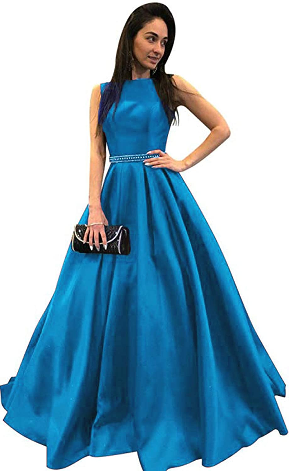 bluee Ri Yun Womens Scoop Neck Long Prom Dresses 2019 Backless Beaded ALine Satin Formal Evening Ball Gowns with Pockets