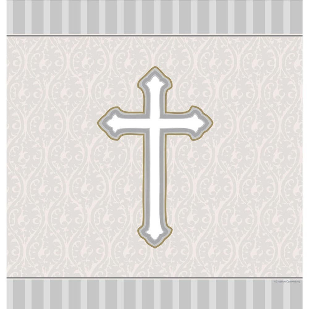 Silver Devotion Cross Creative Converting-Toys 722543 Plastic Banquet Table Cover