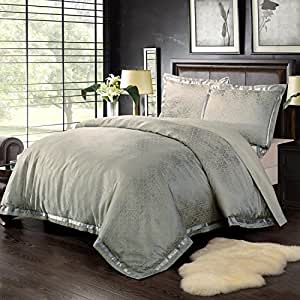 Simple&Opulence Bamboo Cotton Polyester Frabic Golden Lattice Jacquard King Quilt Queen Full Twin Duvet Cover Set (Queen)