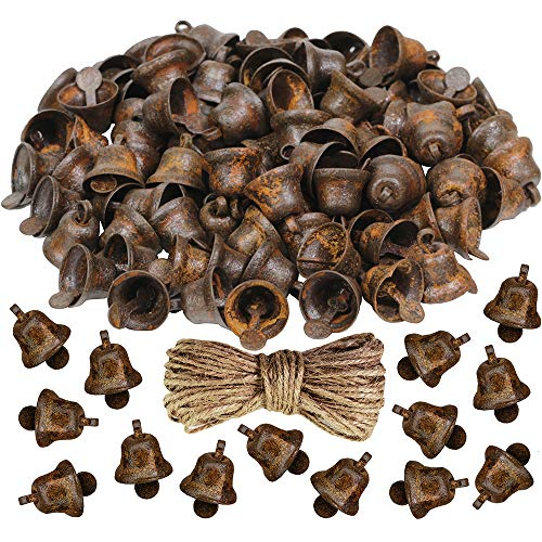 Winlyn 200 Pcs Tiny Rusted Liberty Bells Metal Jingle Bells Bulk Mini Rusty Craft Bells for Christmas Holiday Ornaments Rustic Primitive Country DIY Crafting Decoration 10mm from Winlyn