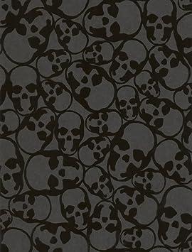 Papier peint design Tête de mort veloutée Couleur Noir Matière