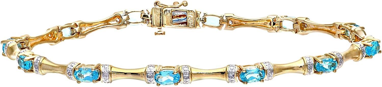 Naava Pulsera para Mujer de Oro Amarillo 9K con 36 Topacios y Diamantes 18 cm