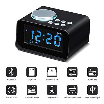 Wonyered Altavoces Inalámbrico Reloj Bluetooth Portátil Despertador Digital Radio FM Pantalla LCD Regulable con Alarma Dual Soporte Llamada Manos ...