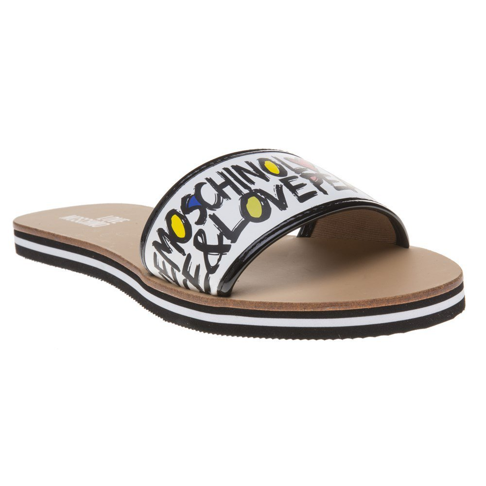 Love Moschino 1 Strap Love & Peace Womens Sandals White