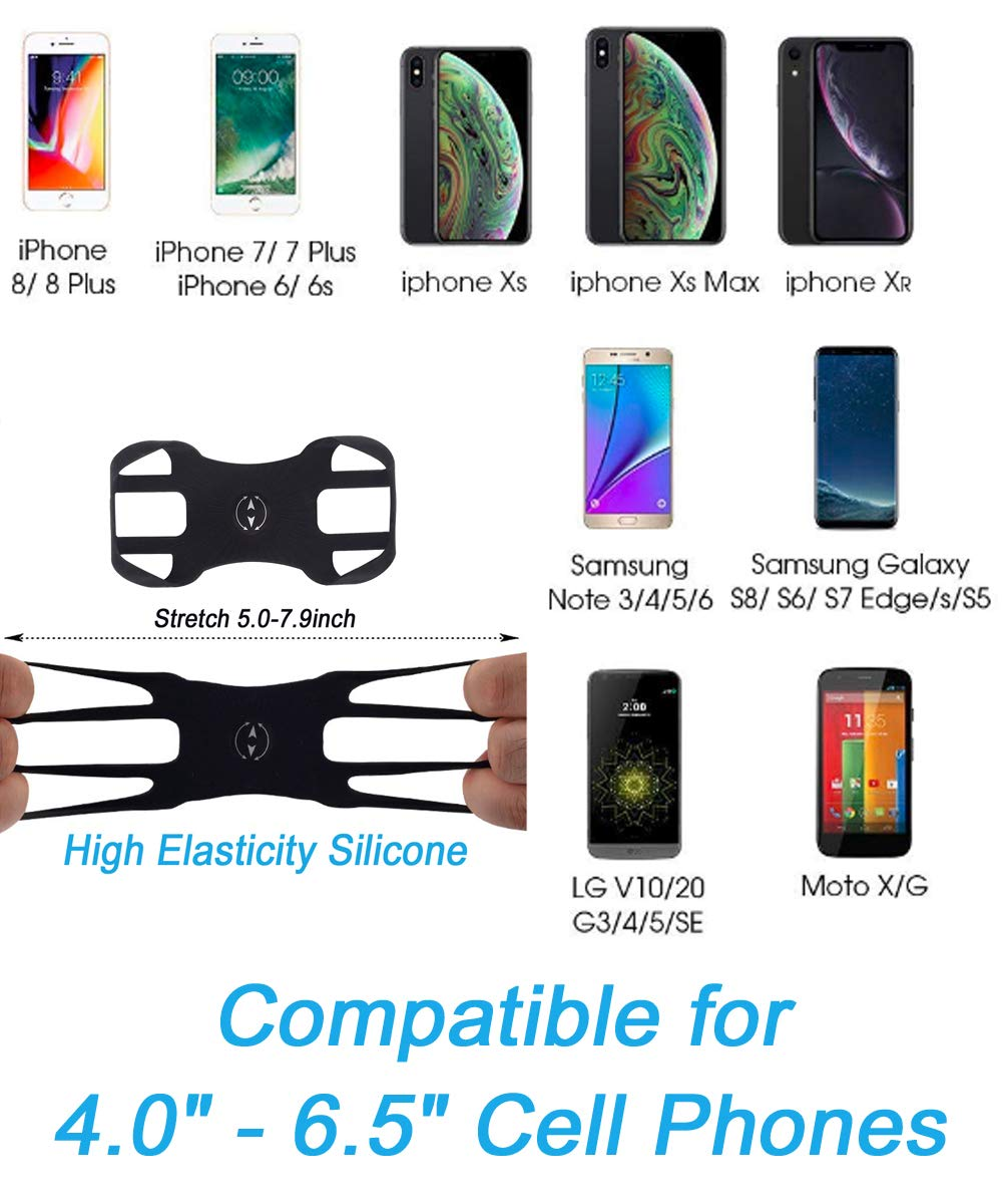XS 7 Plus ZTSXLLIM Cell Phone Holder for Bike and Motorcycle Handlebars 8 Plus Bike Phone Mount for iPhone X S7 6 Adjustable 6s 7 S6 S8 Stylo 4 6s Plus 8 Galaxy S9 XR