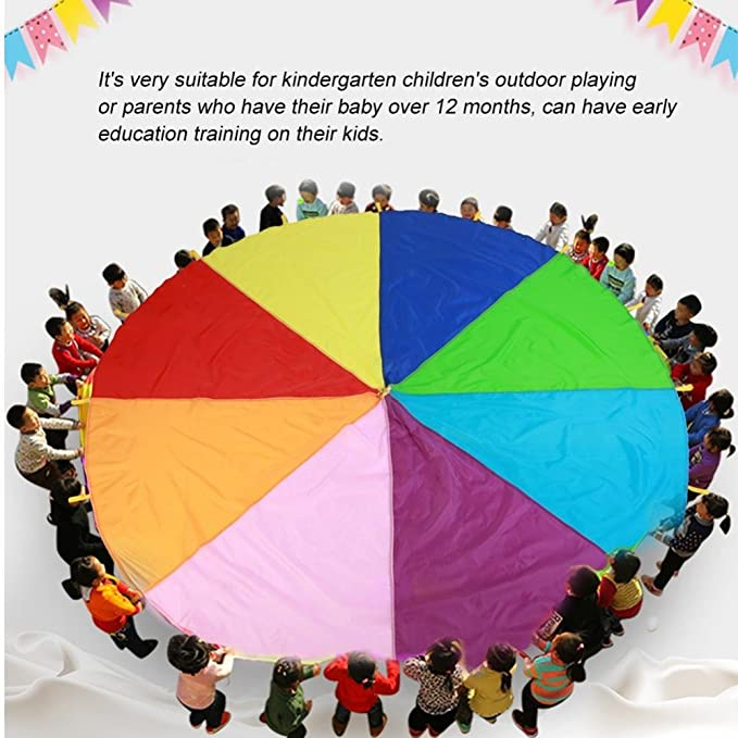 GLOGLOW Kids Funny Parachute Rainbow Umbrella Children Early Educational Outdoor Games Play Parachute with 16 Handles Kindergarten Cooperative Games 3m//9.84ft