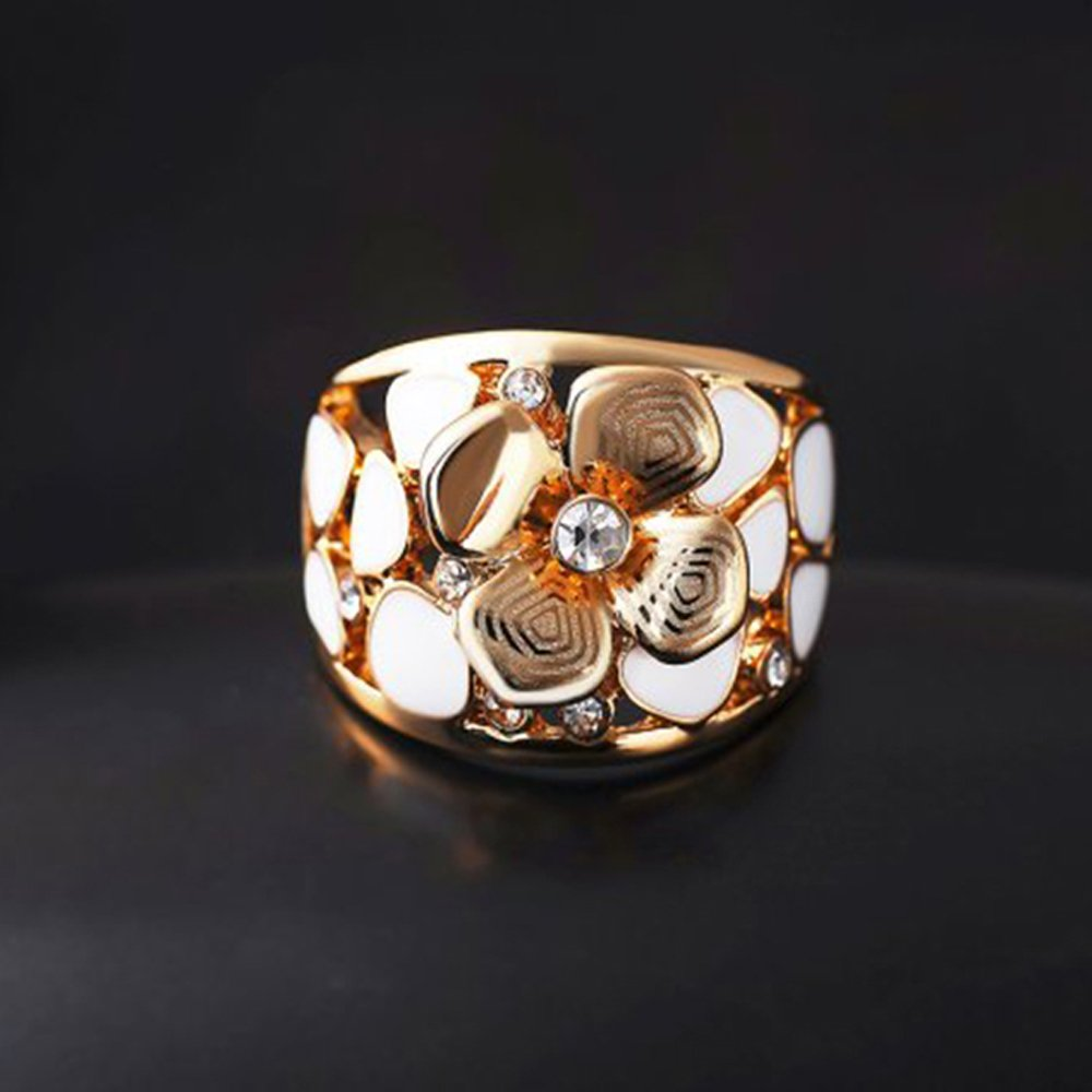 F/&F jewel Fashion Rose Gold Plated Finger Ring For Women Flower Exquisite Jewelry Wedding Rings