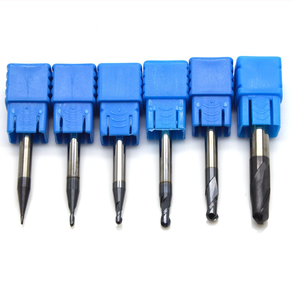 Ougar8 Radius 0.5 0.75 1 1.5 2 3 CNC Milling Cutter Center Cutting Tungsten Carbide TiAlN Coated Ball Nose End mill 2 Flutes Endmills Spiral HRC45 Micrograin solid carbide Router bits 6pcs Lot