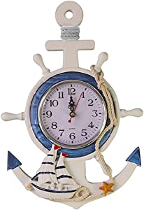 WINOMO Mediterranean Style Anchor Clock Beach Sea Theme Nautical Ship Wheel Rudder Steering Wheel Decor Wall Hanging Decoration