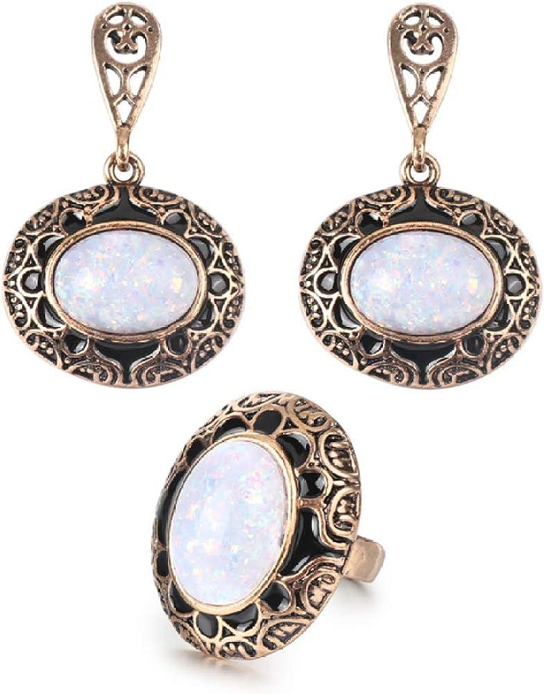 HMANE Pendientes y Anillos de Piedra de ópalo Vintage Calientes, Conjunto de Joyas de Moda para Mujer, joyería Bohemia de Oro Antiguo de Esmalte Negro