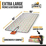 Extra Large Family Outdoor Picnic Mat (80 X 60 IN) Waterproof Foldable Portable Washable Durable (Hiking Camping Beach Park Grass Blanket) Shoulder Strap and Pocket for Essential Festival Gear