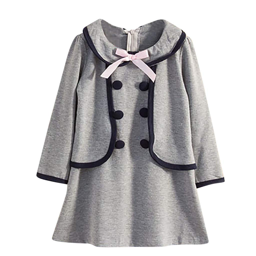 Waymine Toddler Kids Baby Girl Long Sleeve Bow College Wind Fake Two Piece Dress
