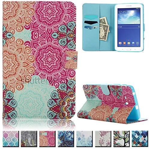 Galaxy Tab 3 Lite T110 Case,UUcovers(TM) Premium Leather Flip Folio Magnetic Smart Wallet Case with Auto Sleep/Wake Feature for Samsung Galaxy Tab 3 Lite 7.0 inch-T110/T111(Flowers of wealth) - Lite Purse