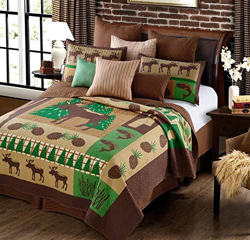 Virah Bella Primitive Rustic Moose Wilderness Lodge Quilt and Sham Set 3 Piece (Green/Brown, - Quilt Patterns Northwoods