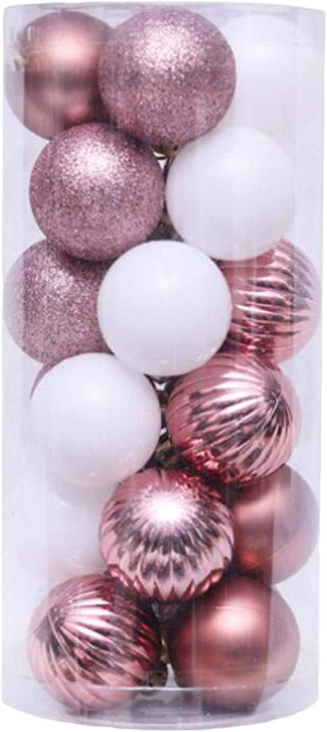 UNBRUVO 24PCS Christmas Ball Baubles Party Xmas Tree Decorations Hanging Ornament Decor for Christmas Tree Decoration, Holiday Wedding Party Decoration (Rose Gold, 24PCS)