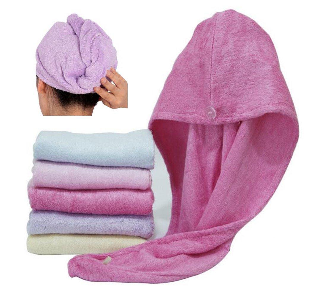 Happyit 1 PCS Haute Qualité 100% Bambou Fiber Tête Douce Serviette Super Magique Absorbant Cheveux Chapeau de Séchage pour Femmes Filles Bain Douche (Rose rouge)