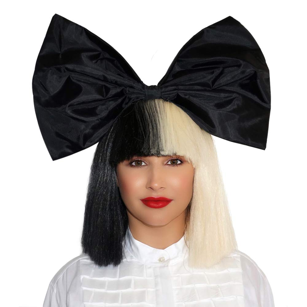 OFFICIALLY LICENSED Sia Costume Wig 2 Tone Half Blonde Black Bob Wig with black Bow Premium Quality Synthetic Hair SIA Cosplay Wigs For Epic Halloween & Rocker Parties - Multicolor Short Black & White Wig For Women & Girls Beauty Wig World