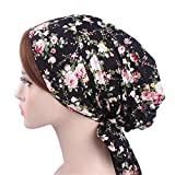 Vintage Women Cotton Head Scarf Chemo Cap Bowknot Turban Head wrap (White Rose)