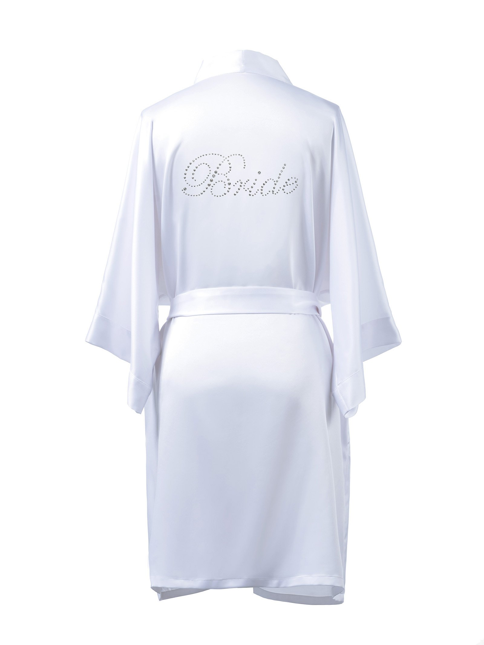 AWEI Satin Bride Robe Short Bridal Robe for Bride Gift Soft Womens Kimono Robe White M//ZS1604CPP02A//