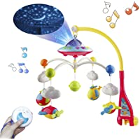 Mini Tudou Musical Baby Crib Mobile Toy with Lights and Music, Star Projector Function and Cartoon Rattles, Remote Control Musical Box with 108 Melodies, Toy for Newborn Sleep …
