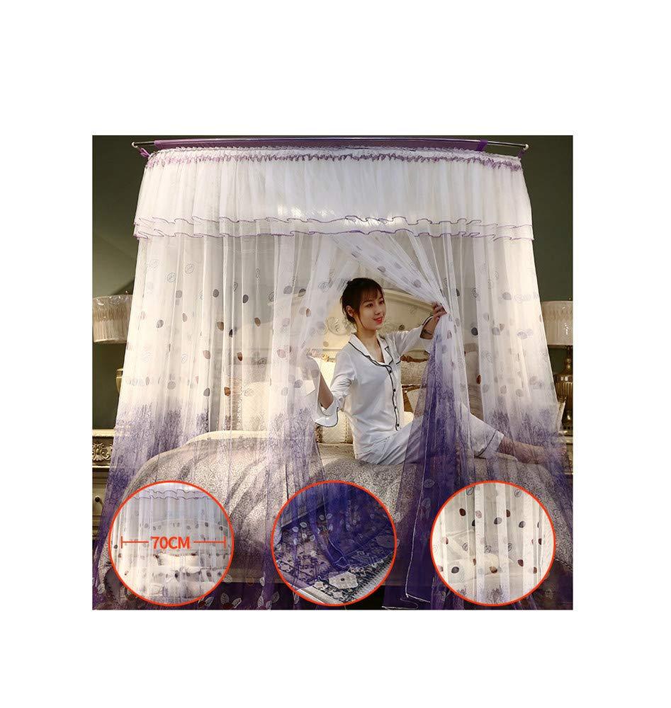 Retractable u-Type Mosquito net Anti-Mosquito Insect net Travel Mosquito net Outdoor Mosquito net Indoor Mosquito net Bedroom Decoration, Purple, L (120-245Adjustment) W180cm by RFVBNM Mosquito net (Image #2)