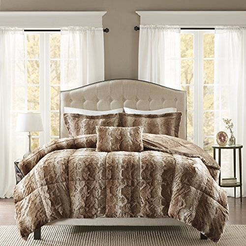 Madison Park Zuri Faux Fur Bedroom 4 Pieces Animal Print Bed Comforter Set, King, Tan