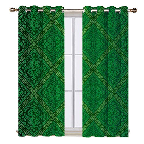 SATVSHOP Home Decor Kitchen Curtains Blackout Two Panels- 84W x 84L Inch- Green Vector Illustration Seaml s Pattern of Foliage Wallpaper Ative Pattern for t -