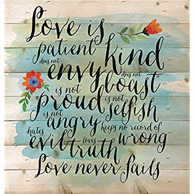 Love is Patient Love is Kind Love Never Fails 12 x 12 inch Wood Board Plank Wall Sign Plaque