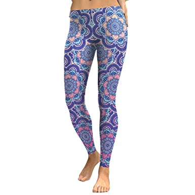 058ec6c819e8d2 Zhhlaixing Flora Women Elastic Leggings Running Yoga Pajama Party Holiday  Stretch Trousers Casual Pants: Amazon.co.uk: Clothing