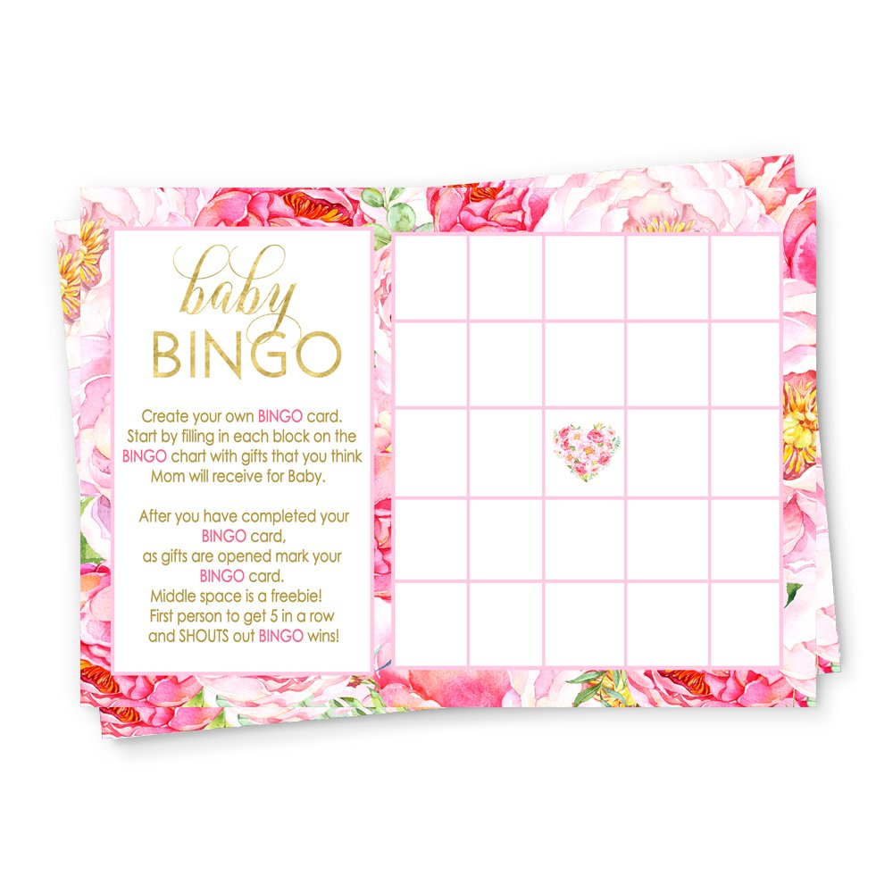 Floral Baby Shower Bingo Game Card (25 Pack) by Paper Clever Party