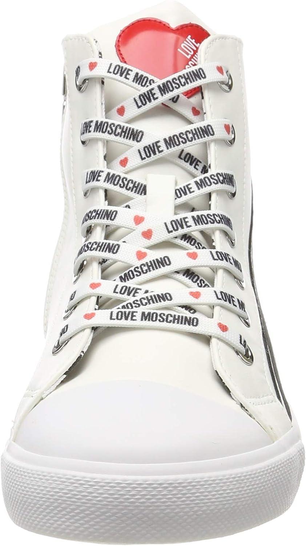 Nod Love Moschino Womens SCA Gomma30 Nappa Pu Hi-Top Trainers