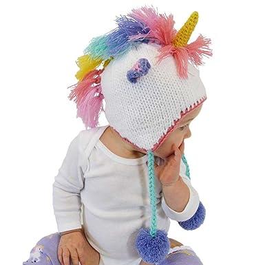 c28b074716d9b Huggalugs Baby and Toddler Girls Pastel Unicorn Beanie Hat Small