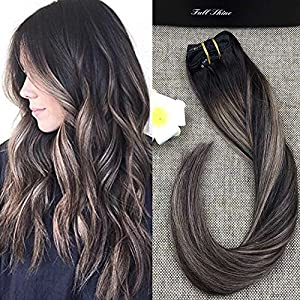 Full Shine 14 inch 7 Pcs Balayage Extensions Clip In Real Human Hair Extensions Good Quality 100 Human Hair Dark Brown Roots #2 Fading to #3 and #27 Brown Balayage Hair