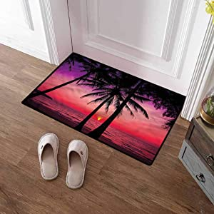 SCOCICI1588 Bath Mat Tropical, Palms Silhouette Sunset Premium Durable Door Mat Heavy Duty, Absorbent 16 x 24 Inch