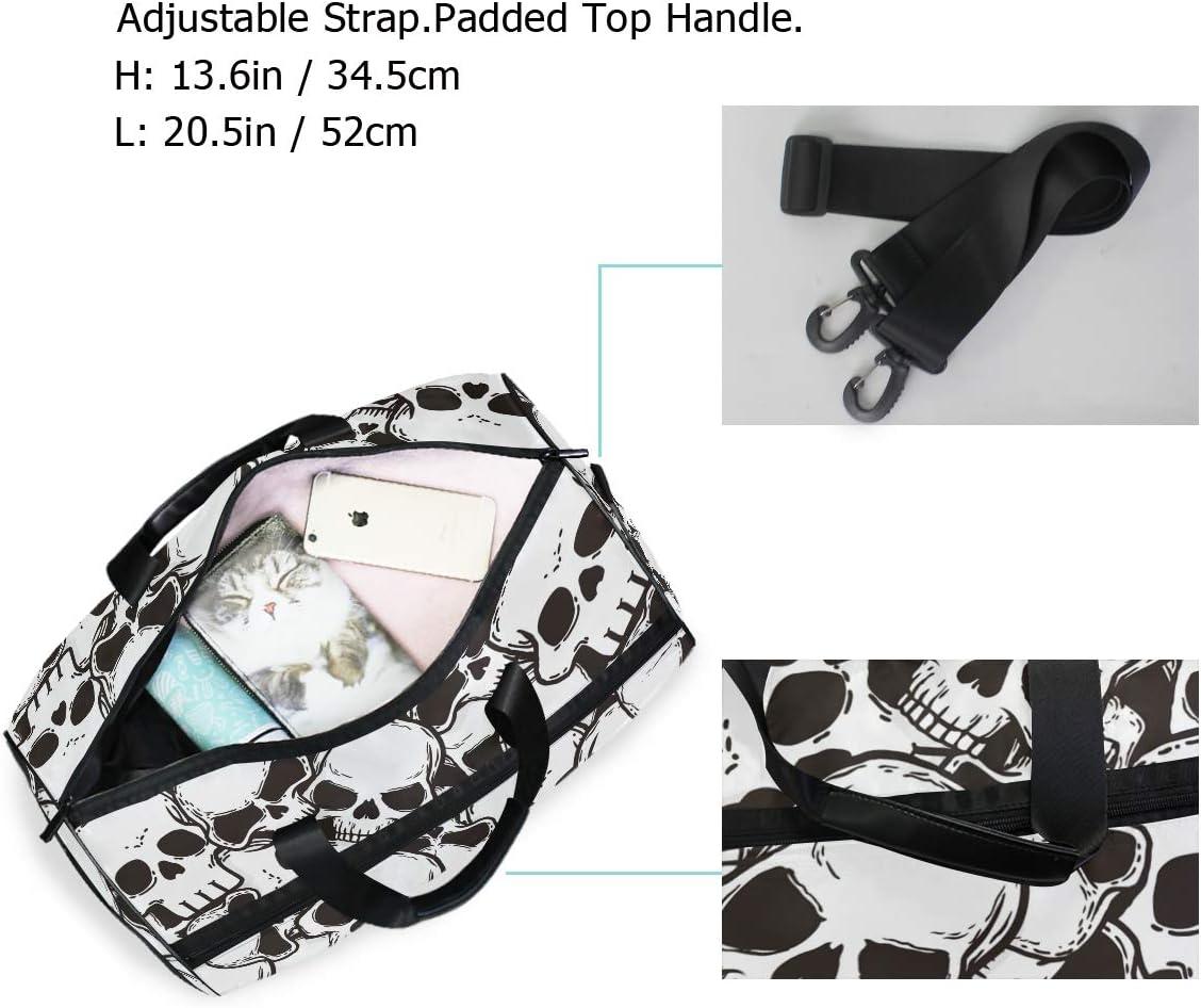 ALAZA Retro Black Sugar Skull Sports Gym Duffel Bag Travel Luggage Handbag Shoulder Bag with Shoes Compartment for Men Women