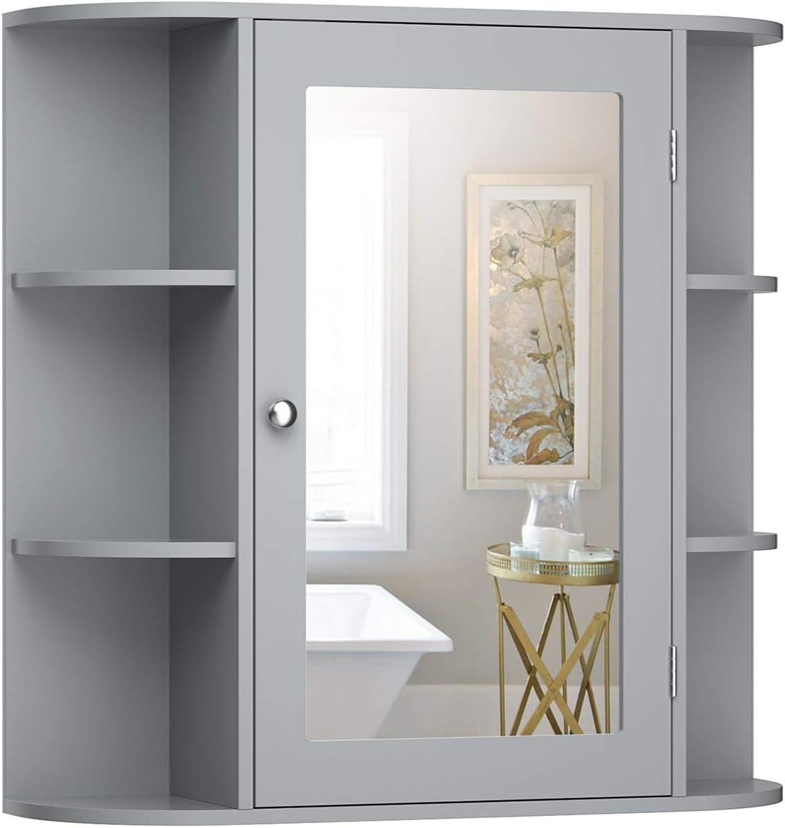 Tangkula Bathroom Medicine Cabinet with Mirror, Wall Mounted Bathroom Storage Cabinet with Mirror Door & Shelves, Mirror Cabinet for Bathroom Living Room, Bathroom Wall Cabinet with Mirror (Gray)