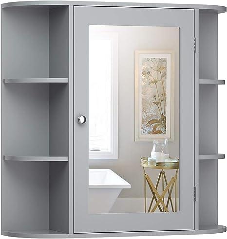 Amazon Com Tangkula Bathroom Medicine Cabinet With Mirror Wall Mounted Bathroom Storage Cabinet With Mirror Door Shelves Mirror Cabinet For Bathroom Living Room Bathroom Wall Cabinet With Mirror Gray Kitchen Dining