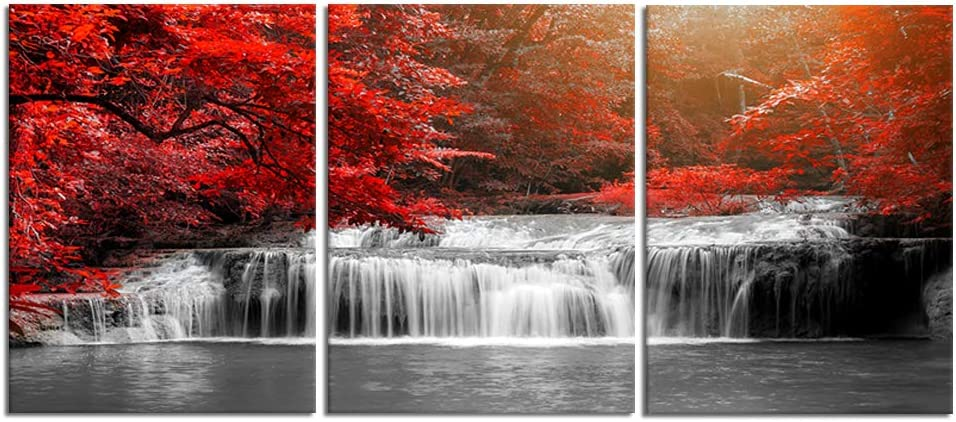Visual Art Decor 3 Pieces Black White and Red Canvas Wall Art Red Forest Waterfall Poster Print Landscape Picture Framed Artwork for Office and Home Decor Ready to Hang 12x16inchx3pcs